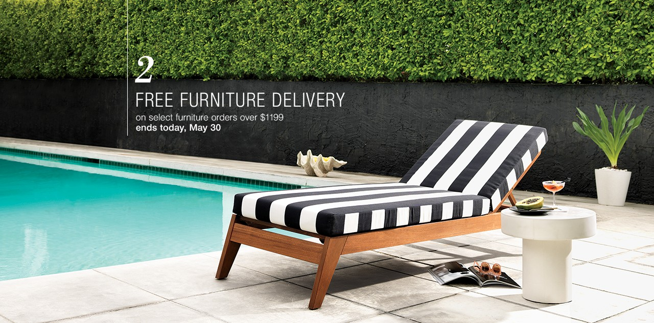 Free furniture delivery on select furniture oders over $1199 now through May 30.