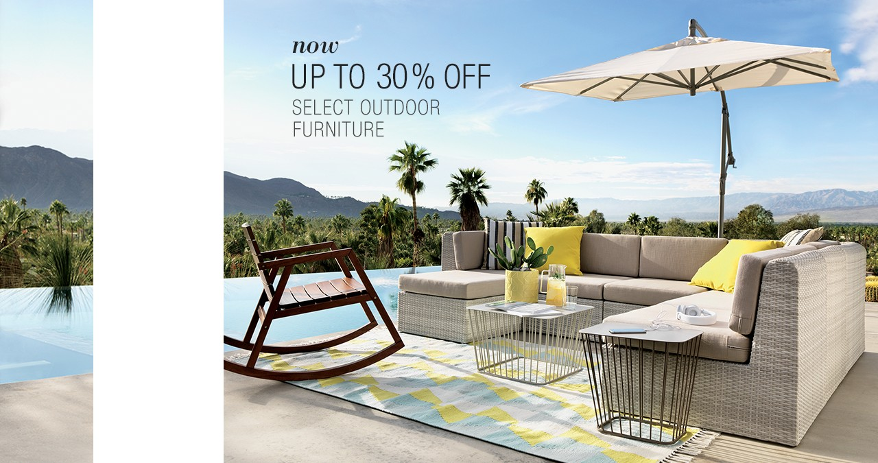 now up to 30% off select outdoor furniture.