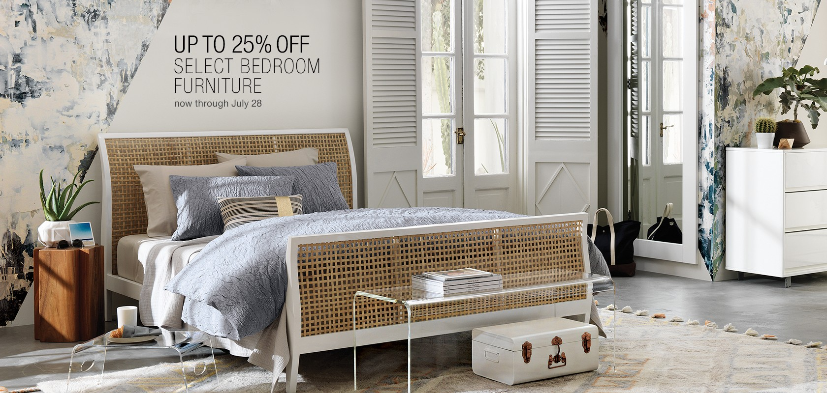 up to 25% off select bedroom furniture. now through July 28