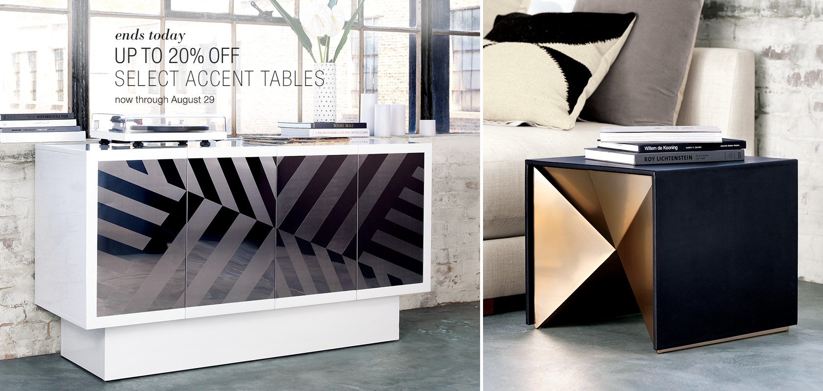up to 20% off select accent tables. ends today