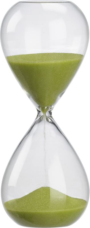 "<span class=""copyHeader""> sands of a new time.</span>  Modern handblown chem lab beaker glass tracks the time in green sand.<br /><br /><NEWTAG/><ul><li>Measures 15 minutes</li><li>Handblown beaker glass</li><li>Colored sand</li></ul>"