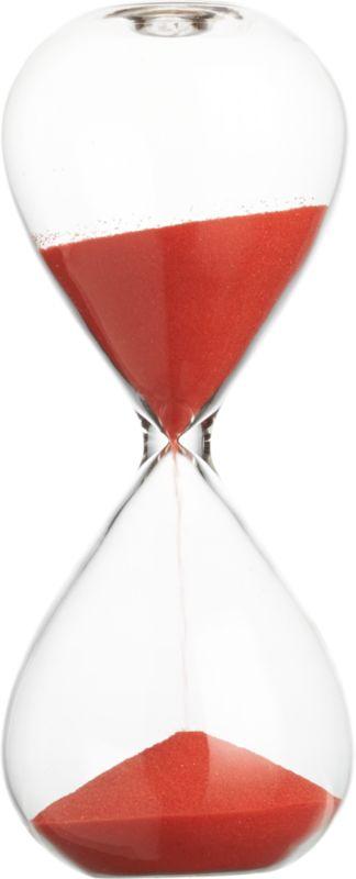 "<span class=""copyHeader"">sands of a new time.</span> Modern handmade chem lab beaker glass tracks the quarter hour in orange sand.<br /><br /><NEWTAG/><ul><li>Handmade</li><li>Borosilicate (""beaker"") glass</li><li>Measures 15 minutes</li><li>Orange sand</li></ul>"