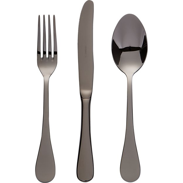 12-piece black nickel flatware set