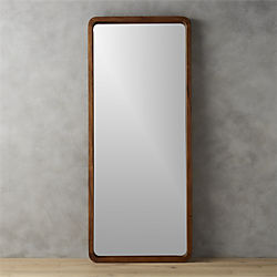 "acacia wood 33""x73"" floor mirror"