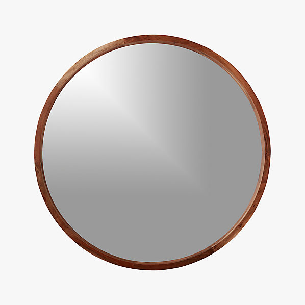 Acacia wood 40 mirror cb2 for Round wood mirror