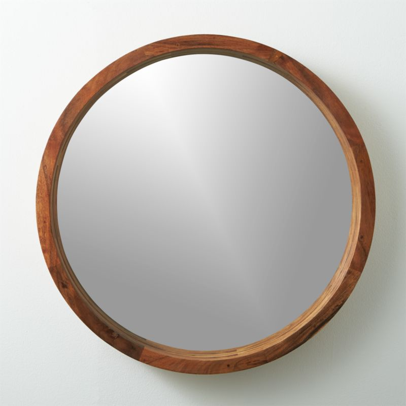 Acacia wood 24 wall mirror cb2 Round framed mirror