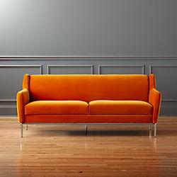 alfred orange velvet sofa