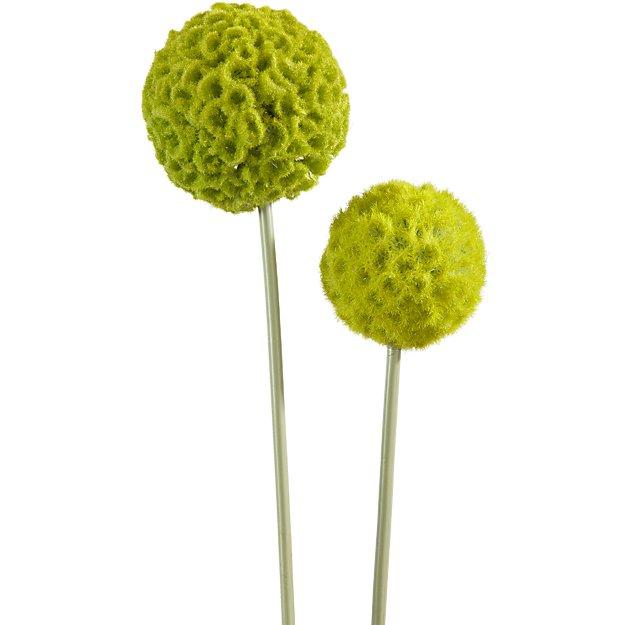 green artificial allium flower stems