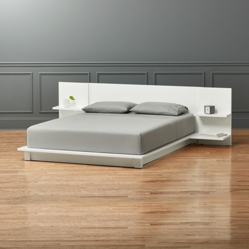 Andes white queen bed cb2 - Modern queen bed with storage ...