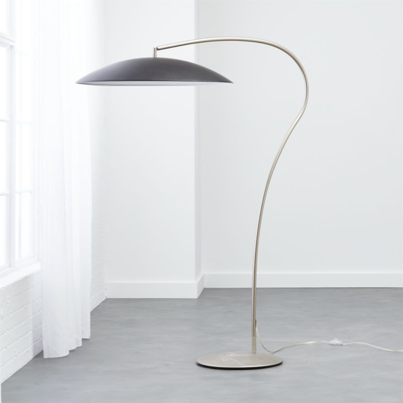 atomic matte black arc floor lamp