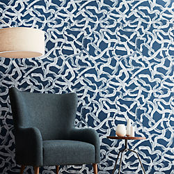 aurora blue and grey brushstroke traditional paste wallpaper
