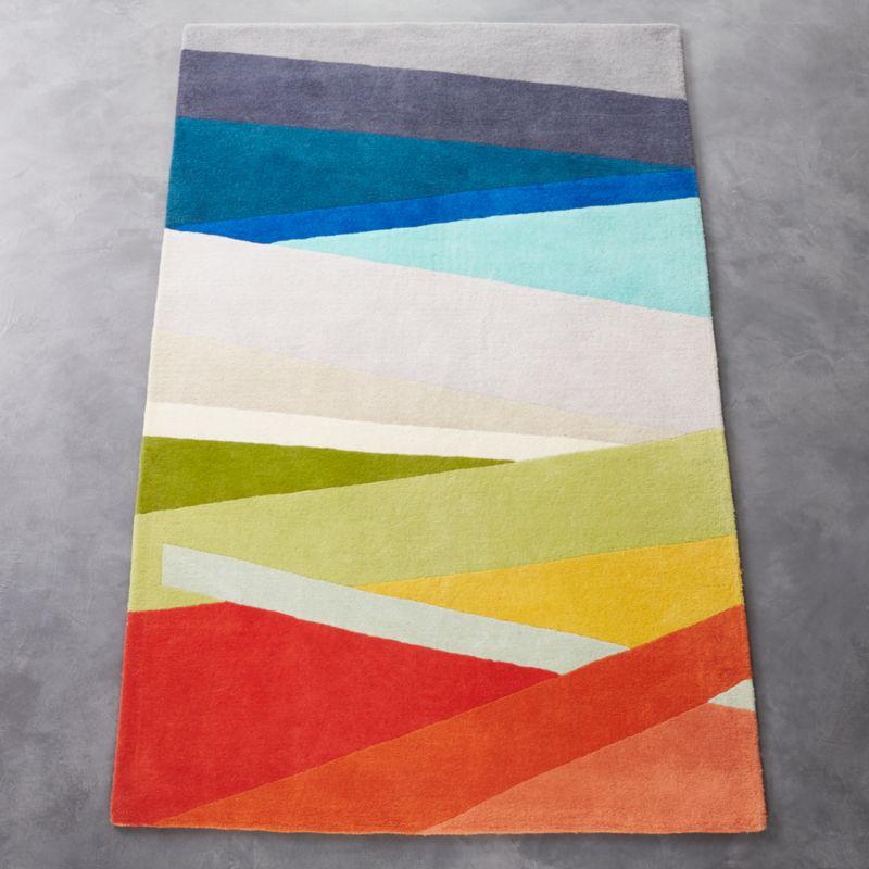 banded color stripe rug