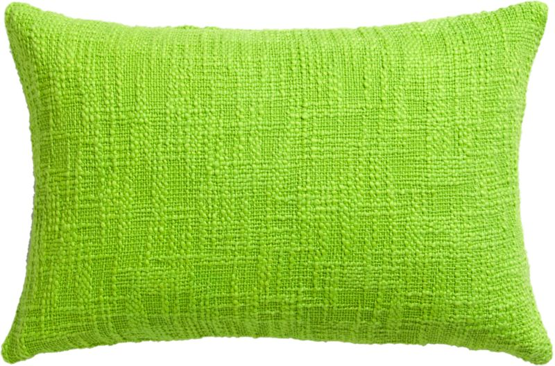 "basis bright green 18""x12"" pillow with feather-down insert"