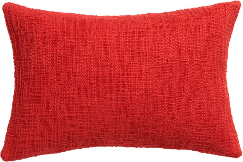 "basis red 18""x12"" pillow with feather-down insert"
