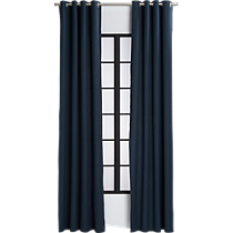 basketweave navy curtain panel