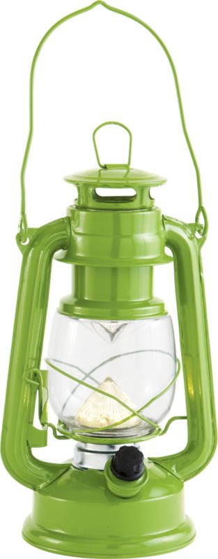 "<span class=""copyHeader"">camp sight.</span> Intricate iron lantern sheds modern new LED light on old-school oil designs. Powdercoated slick sour apple green, indoor/outdoor lantern safely adds a warm glow on the patio, camps out or dines inside. Lights the way with two DD batteries (not included).<br /><br /><NEWTAG/><ul><li>Iron</li><li>LED bulb</li><li>Requires two DD batteries (not included)</li><li>Plastic knob</li><li>Wipe with soft cloth</li></ul><br />"