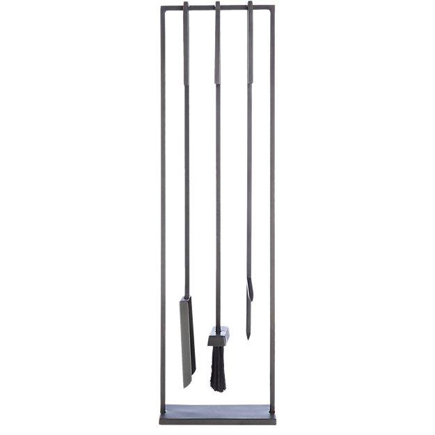 3-piece bend gunmetal standing fireplace tool set