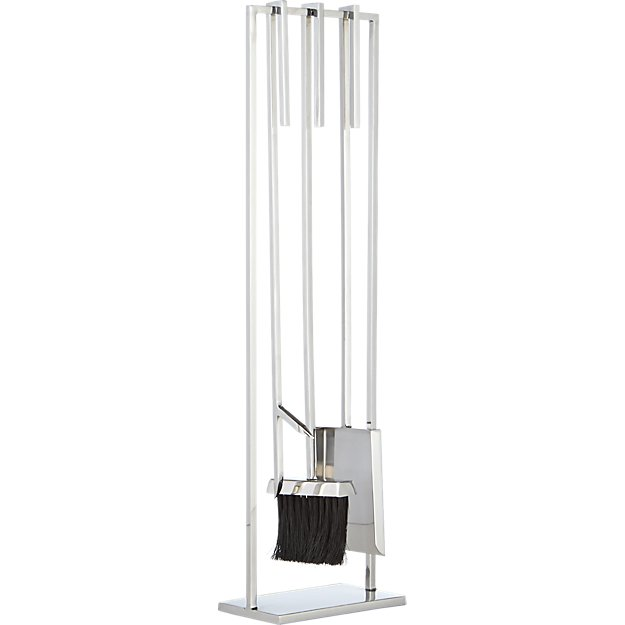 3-piece bend stainless steel standing fireplace tool set