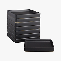 bento matte black appetizer plates set of eight