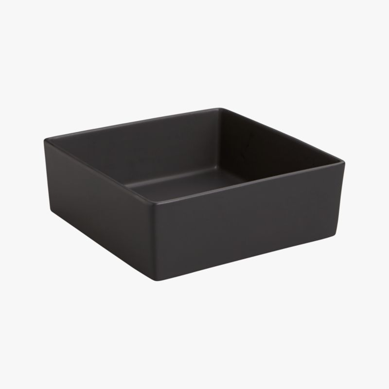 bento matte black square bowl