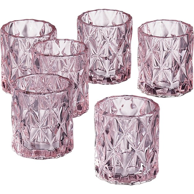 set of 6 betty pink tea light candle holders