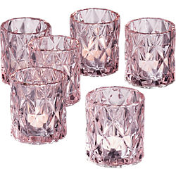 betty pink tea light candle holders set of six