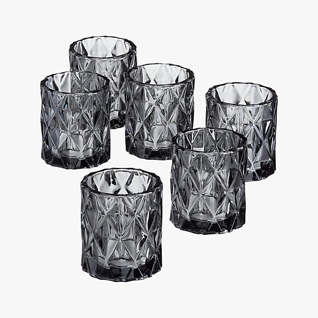 set of 6 betty smoke tea light candle holders