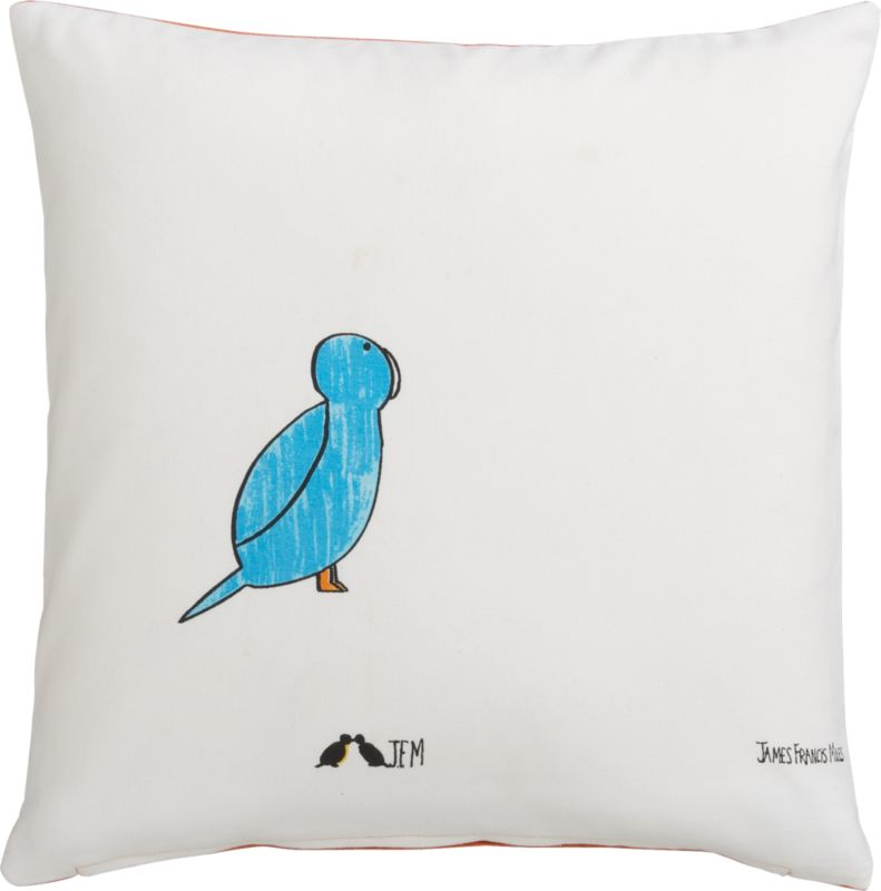 "blue bird 16"" pillow with feather-down insert"