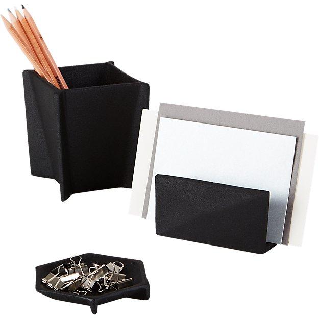 black cast desk accessories