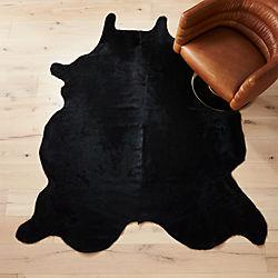 cowhide black rug