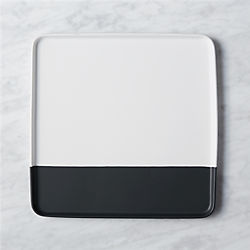 dip square black and white platter