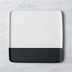 dip square black and white platter