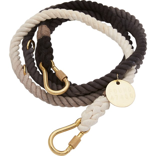 black fade adjustable rope leash