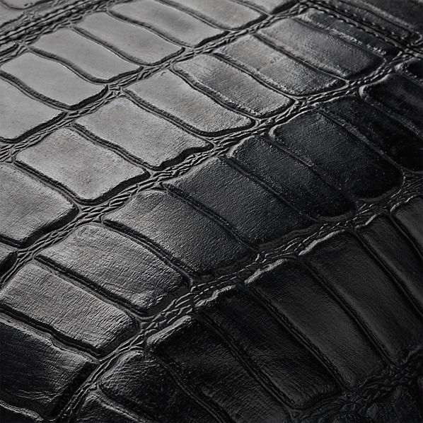 BlackLeatherCrocoPillow16x16AV2F16
