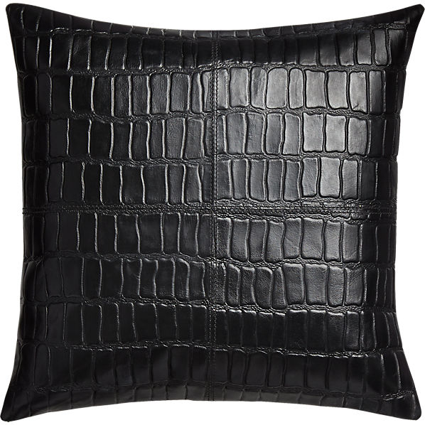 BlackLeatherCrocoPillow16x16F16