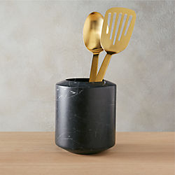 black marble utensil holder