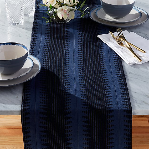 blue and black table runner