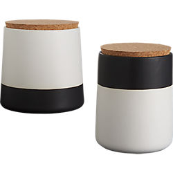 dip black and white canisters
