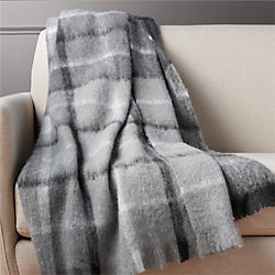 alpaca black and white plaid throw