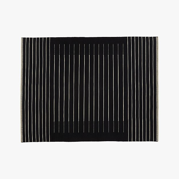 Black With White Stripe Rug 9 X12 Cb2