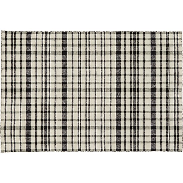 black and white check rug 5'x8'