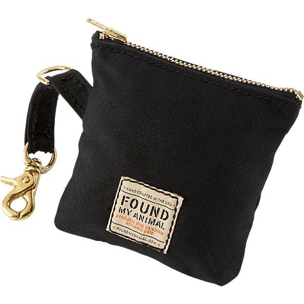 black waxed canvas dog leash bag