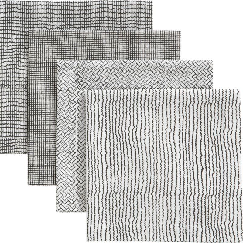 set of 4 blockprint charcoal napkins
