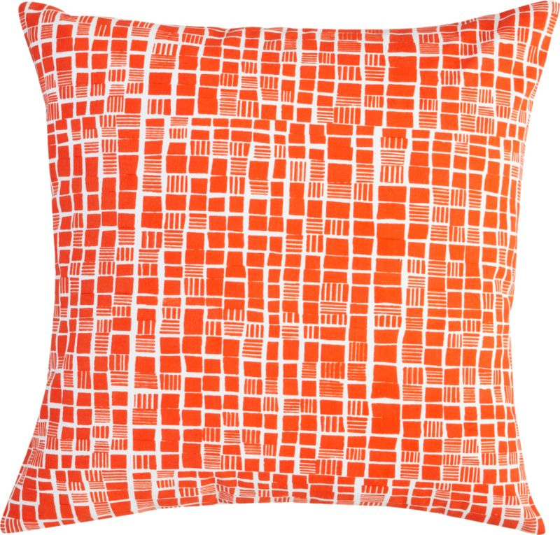 "block print orange and white 20"" pillow"