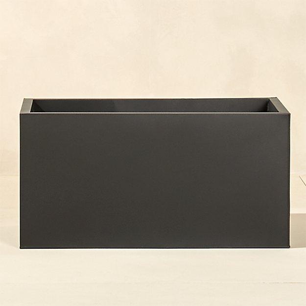 "blox 32"" low galvanized charcoal planter"