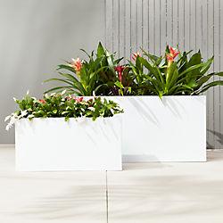 blox rectangular galvanized high-gloss white planters