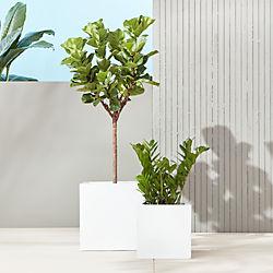 blox galvanized high-gloss white planters