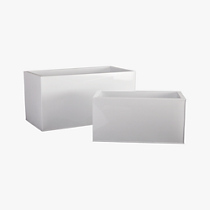 blox rectangular galvanized high-gloss white planters