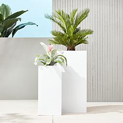 blox tall galvanized high-gloss white planters