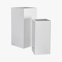 blox tall galvanized high-gloss white planters
